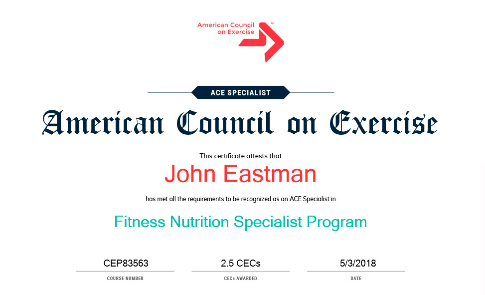 John Eastman Ace Certified Personal Trainer Leominster Fitchburg